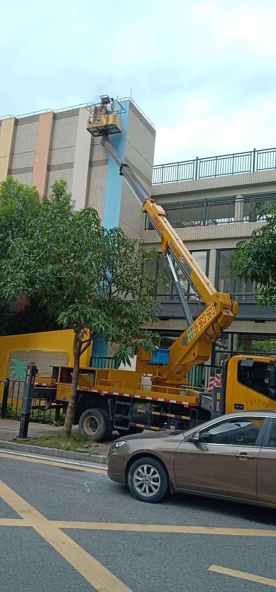 广州萝岗区14米曲臂车载式高空车出租电话